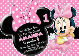 Free Printable Birthday Invitation Cards With Photo Free Minnie Mouse First Birthday Invitations Printable Drevio