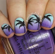 inspired sunset gradient palm tree nail art the nail polish