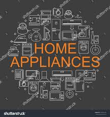 icons home appliances arranged circle style stock vector 373103134