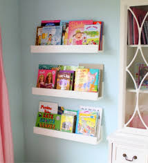 diy white minimalist wall mounted book shelves for little girls