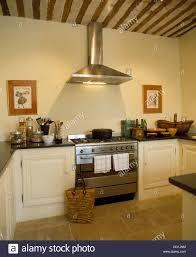 stainless steel extractor above steel range oven in french country