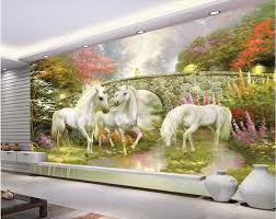 online get cheap unicorn wallpaper aliexpress com alibaba group custom photo 3d room wallpaper forest bridge fairyland unicorn decoration painting 3d wall murals wallpaper for