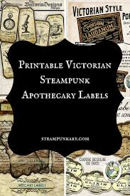 victorian steampunk apothecary labels