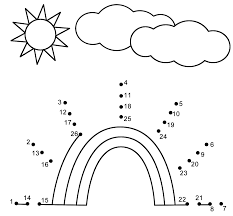 free rainbow activity sheets rainbow connect the dots count