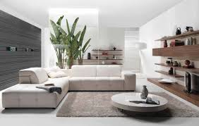 modern living room brown white leather base round white table