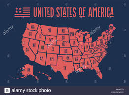 Map Of America With States by Poster Map United States Of America With State Names Stock Vector