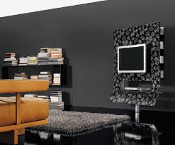 Black-ultra-moderne-tv-stand-de-verre-tablettes-et-built-in-tv