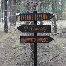 decisions 3 halloween lawn ornament sign haunted house cemetery