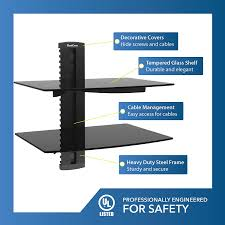 wall mounted component shelves qualgear universal dual shelf wall mount for a v components upto