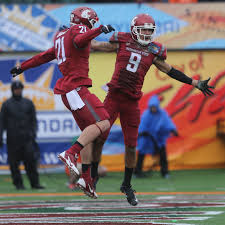 Washington State receiver Gabe Marks  right  celebrates with teammate River Cracraft after scoring a The Seattle Times