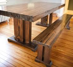 Wood Dining Room Pretty Furniture Thick Solid Wood Dining Table With Bench Above