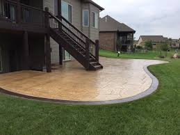 Backyard Cement Patio Ideas by Patio Designs Pool Remodeling Wichita Stamped Concrete Dirt
