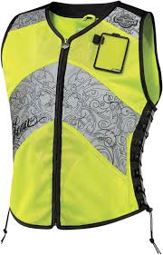 reflective bike jacket icon womens mil spec corset motorcycle vest hi vis reflective
