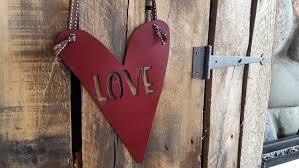 love heart sign metal heart metal love sign rustic home decor