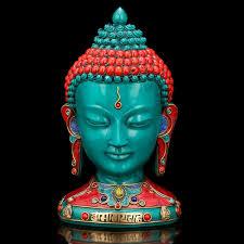 turquoise buddha bust statue buddha head tibetan nepal home decor