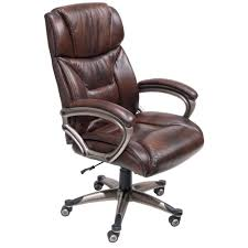 Brown Leather Task Chair Furniture Comfortable And Stylish Addition For Your Home Office