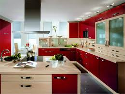 red modular kitchen cabinet design with granite countertops and