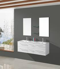 double frameless wall mirror on dark gray pianted bathroom
