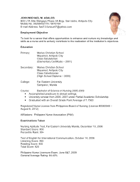 Sample Resume For Overseas Jobs by Sample Resume For Filipino Nurses Applying Abroad Resume Ixiplay