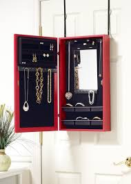 furniture wall mounted black jewelry armoire with shelves and