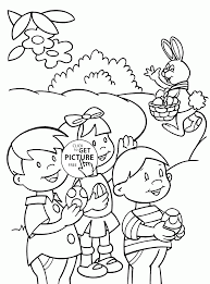 kids and easter bunny coloring page for kids holidays coloring