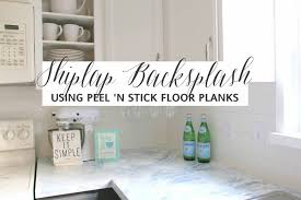 Faux Shiplap Backsplash With Peel N Stick Flooring - Peel on backsplash