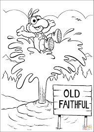 baby gonzo at old faithful geyser in yellowstone coloring page