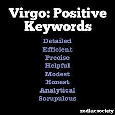 All About Virgo Zodiac Sign   Zodiac Advice Virgo Positive Personality Keywords