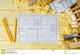 woodworking drawings for building small house stock photo
