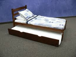 Full Size Trundle Bed Frame Bedroom Simple White Day Bed With Trundle With Wood Material And
