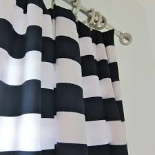 decorating beautiful black and white horizontal striped curtains