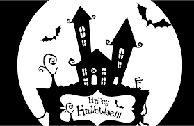 black and white halloween backgrounds clipart happy halloween haunted house stencil