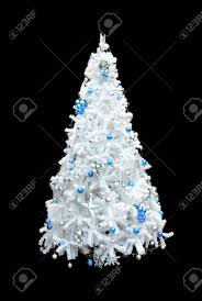 Christmas Tree Decorations Blue And Silver A Beautiful White Artificial Christmas Tree With Blue And Silver