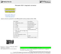 mitsubishi obd ii diagnostic connector pinout diagram