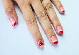 red and white french tip accent angry birds nail art