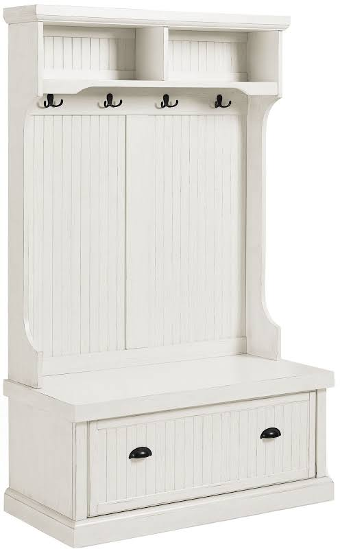 Crosley Seaside Hall Tree in Distressed White - CF6006-WH
