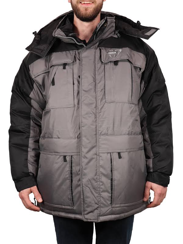 Freeze Defense Big & Tall 3in1 Winter Jacket Coat Parka & Reversible Vest (3XL / 3X, Light Gray)