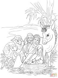 nativity scene with holy family and animals coloring page free
