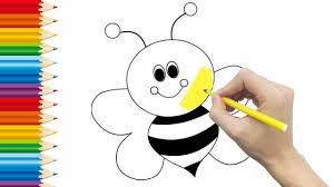 bees coloring pages for kid and learning how to draw bees videos