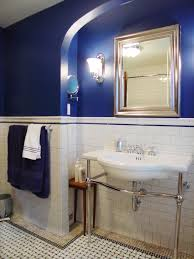 Small Blue Bathroom Ideas Cool Blue Theme With Nice Gold Square Frame Mirror Beside Shiny