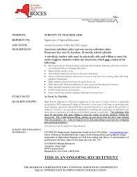 Cover Letter For Substitute Teacher Long Term Substitute Teacher Resume Resume For Your Job Application