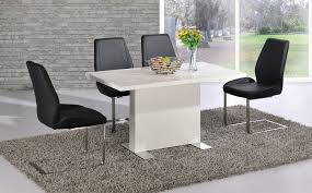 White High Gloss Dining Table And  Black Chairs Set Homegenies - Black dining table for 4