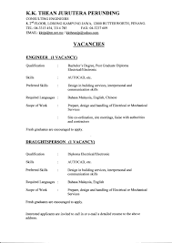 Job Resume Sample Malaysia by Sample Resume Engineer Malaysia Augustais