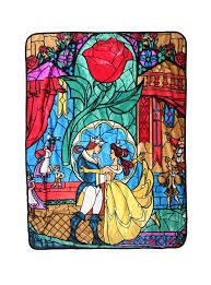 disney beauty and the beast stained glass throw blanket topic