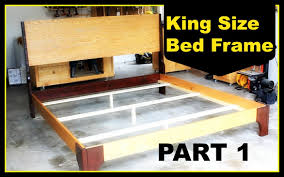 How To Build A Queen Platform Bed Frame by Diy King Size Bed Frame Part 1 Youtube