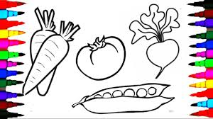 draw and coloring pages fruits and vegetables for kids to learn l