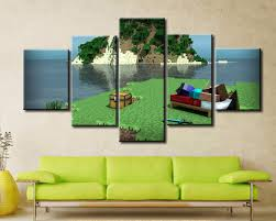 5 panel canvas painting home decor for living room minecraft hd