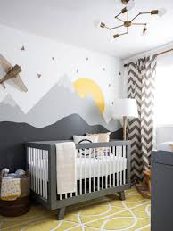 Boy Nursery by Baby Boy Nursery With Wall Murals And Chevron Curtain Cool Baby