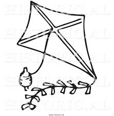 clipart of a classic kite with string black and white drawing by