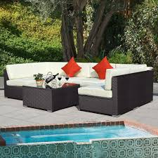 Wicker Outdoor Furniture Sets by Outdoor 7pc Furniture Sectional Pe Wicker Patio Rattan Sofa Set